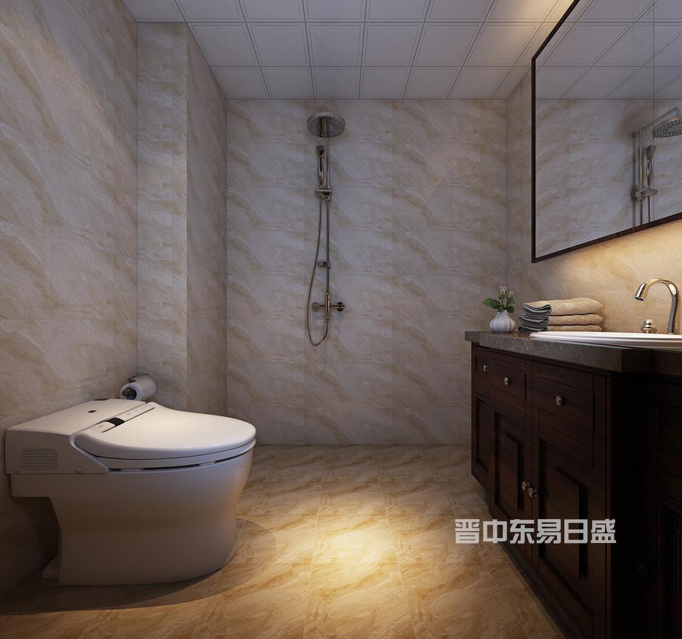 主卫整体墙地砖以暖色为主,介于客户不喜欢整体淋浴房,所以在设计花洒的时候选择了一个独立的一面墙,在装浴帘的时候方便而且整体。