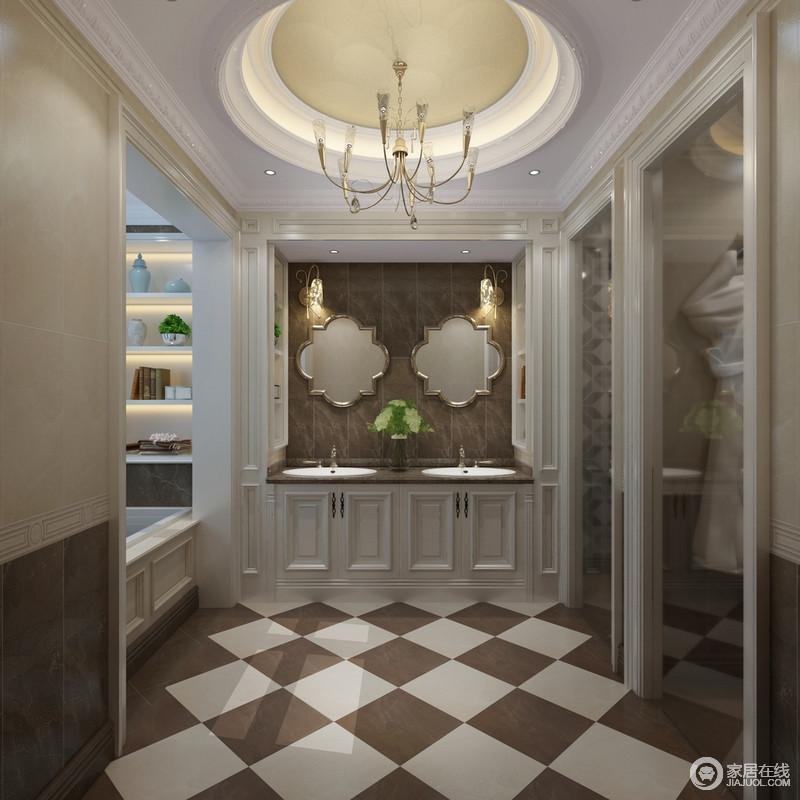 卫生间结构方正,石膏线到圆形穹顶带着复古与直线搭配出古典与简单的双重魅力;褐色和白色砖石组合铺贴,并以菱形演绎一种动律,与墙面的拼接形成一种层次力量;盥洗区定制的收纳区巧妙而实用,花式镜饰的现代时尚,与壁灯的精秀,透着设计的美感,同时与新创意的黄铜吊灯装饰出金属的硬朗和奢华,让原本功能分明的空间极富和谐与雅致。