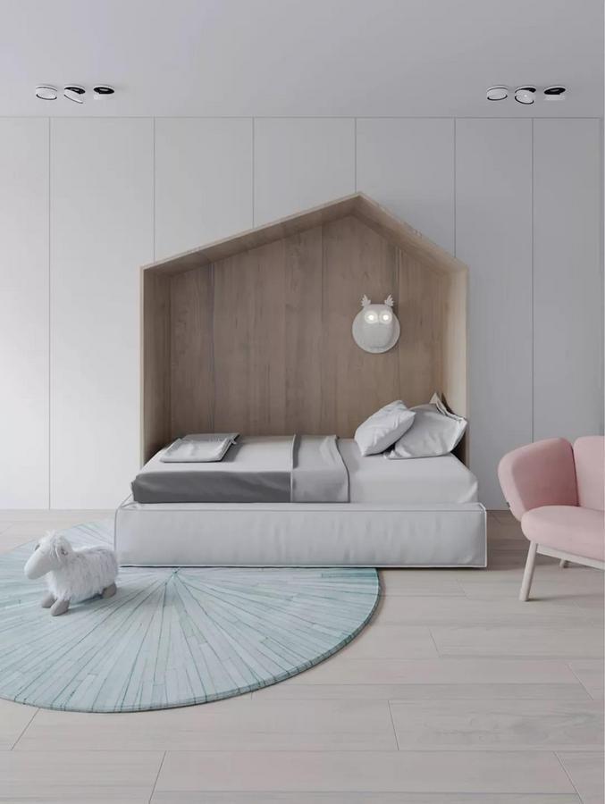 不同于一般儿童房的布局, 为了给孩子的成长空间营造更多可能性, 儿童床的位置被安排到大衣柜中, 让衣柜和床融为一体, 从而解锁出一种新的设计方式。