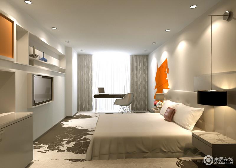 卧室大面积纯净白色,令空间一尘不染的同时,愈加清冷单调;局部点缀的鲜艳橘橙色,则瞬间聚焦视觉,增加空间趣味活力;电视墙上的壁龛收纳,带来空间变化感和实用性,使得简约空间不乏功能。