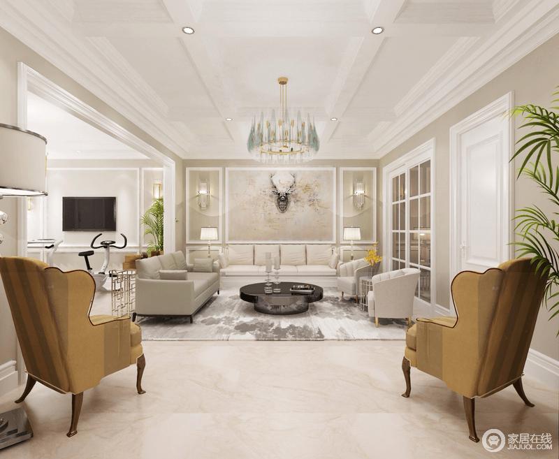 休闲室以驼色漆为主,通过白色石膏吊灯或者门窗,让空间朴素纯净;背景墙的几何与花纹的艺术,配上灰色系沙发搭配扎染过得地毯,多了抽象美学,黄色系美式扶手椅无疑添置了几分美式贵气。