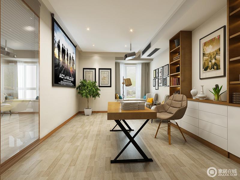 书房与影音室结合,空间得到充分使用;设计师利用木质的朴拙,以原木搭配简白色,在画报般的装饰画点缀下,演绎出文艺的趣味性;背景墙上大面积的镜面,折射着空间内容,形成层次上放大扩展。