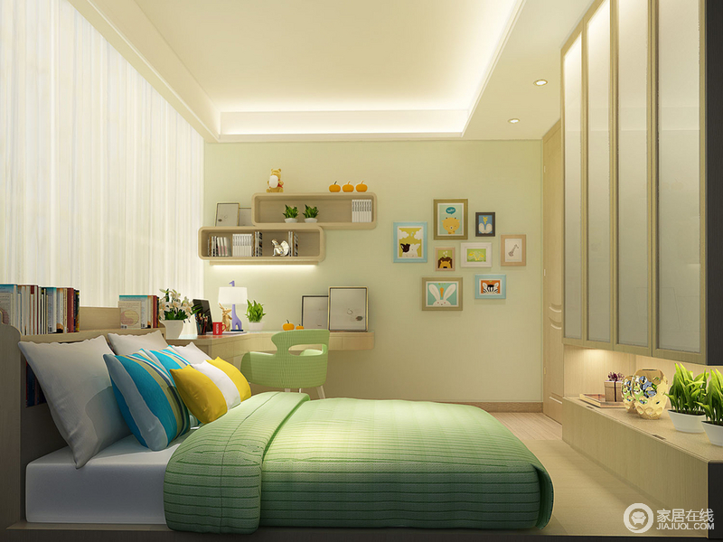 以不同明度的浅绿色,将儿童房打造的通透感十足,又具蓬勃生命力;墙上缀以画作和收纳架,弧形书桌减少对宝宝伤害;床品色调充满活力,床头板可以作为小书架;衣柜处做了展示台,放置日常摆件。