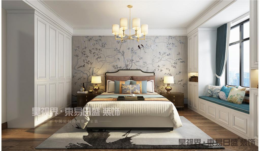 简美风格卧室营造得是一个温暖的氛围。