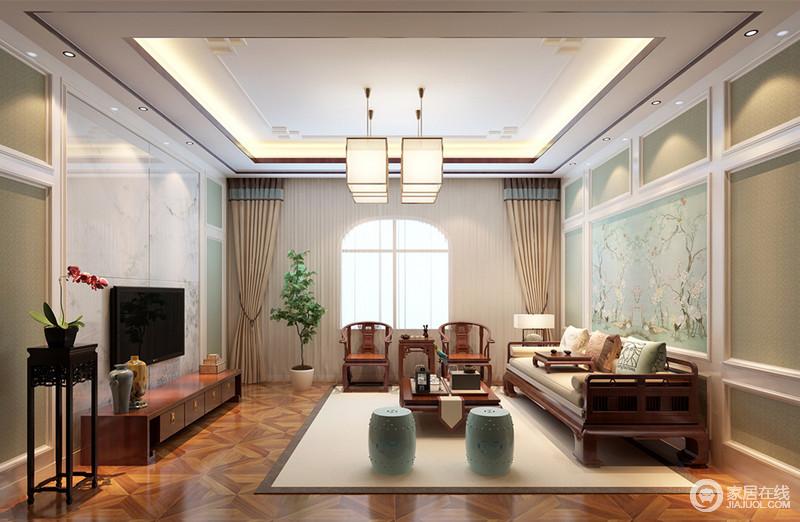 二层的客厅在中式风格中混搭了新古典风元素,将中西典雅的清新婉约彰显出来,并带着一股温柔浪漫的华丽气质;墙面上的墙板线条,无形中丰富了空间的立体视感。