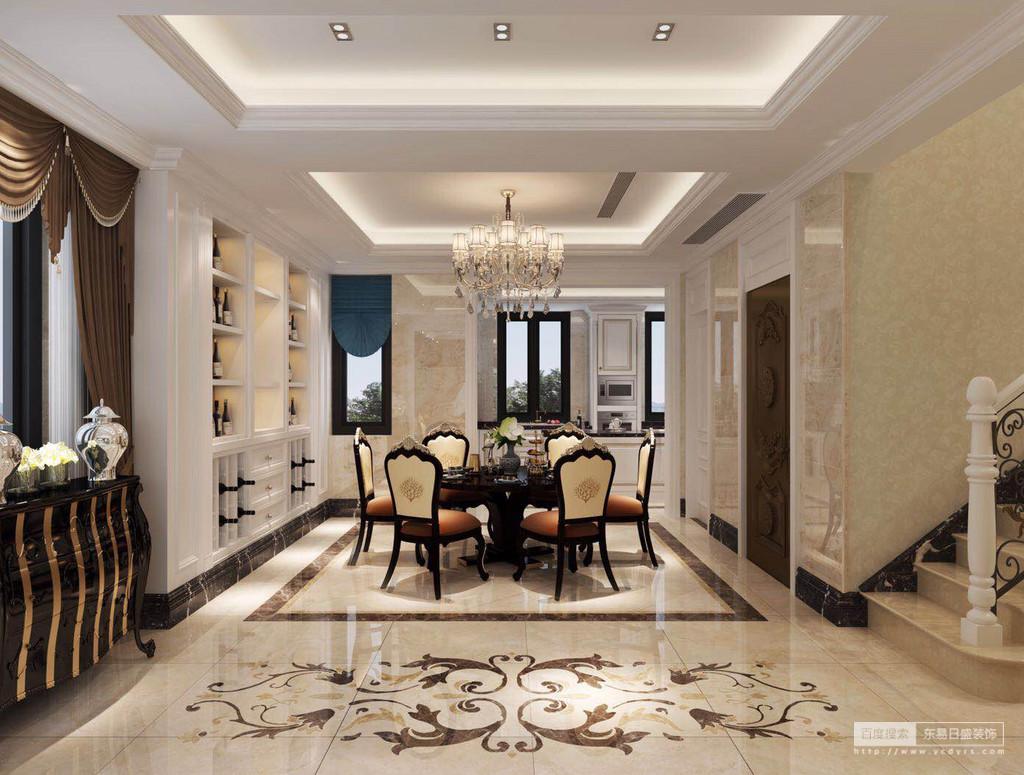 餐厅虽然为开放式的格局,但是设计师将两个矩形吊顶连接在一起,构成矩形效果;收纳柜嵌于墙体不仅增强了功能性,还让空间具有收纳美学;拼花地砖与矩形砖线让空间具有动感,米橙色实木餐桌餐椅与咖色罗马帘构成浓重地贵气,而黑色边柜几陶罐陈列在一侧,构成整个空间的典雅。