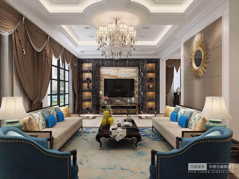 客厅电视背景墙黑色大理石材定制的矩形设计,与隐藏得灯带构成陈列美学,浅灰色大理石散发着浓厚得自然气息;咖色罗马帘加重了空间的会恢弘气势,米色沙发因为蓝色铆钉扶手椅与晕染色的米兰色地毯、彩色靠垫构成优雅。