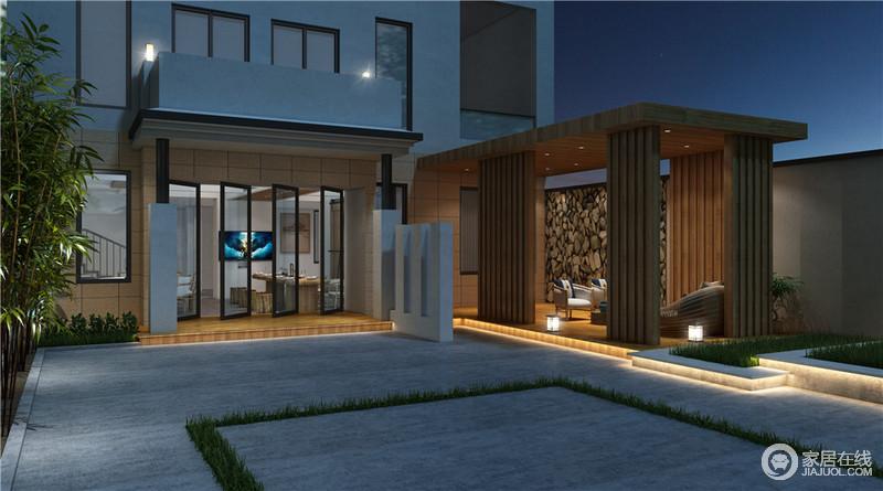 设计师并没有放弃室外空间,而是以砖木结构打造了一个开放式的休息厅;休闲厅以竹木装饰墙体,让结构稳固而不失自然朴素,原木地板因为现代感的家具显得时尚而精致,让你可以在院中漫步之余,坐下来赏夜景。