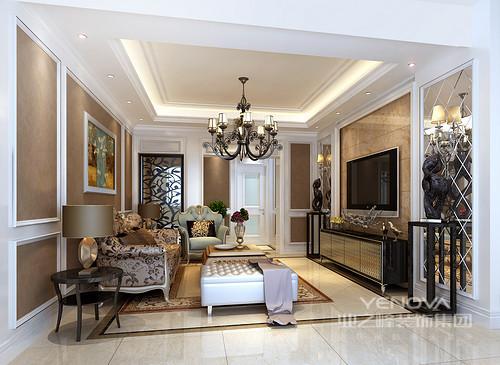 经过改造后的客厅与老人的卧室相连,避免老人爬楼的不便。棕色的墙壁在白色护墙的贯穿下,庄重中不失时尚感。花纹点缀在沙发、靠包、镜子和地毯上,营造出大方典雅。花卉装饰画点亮空间色调。