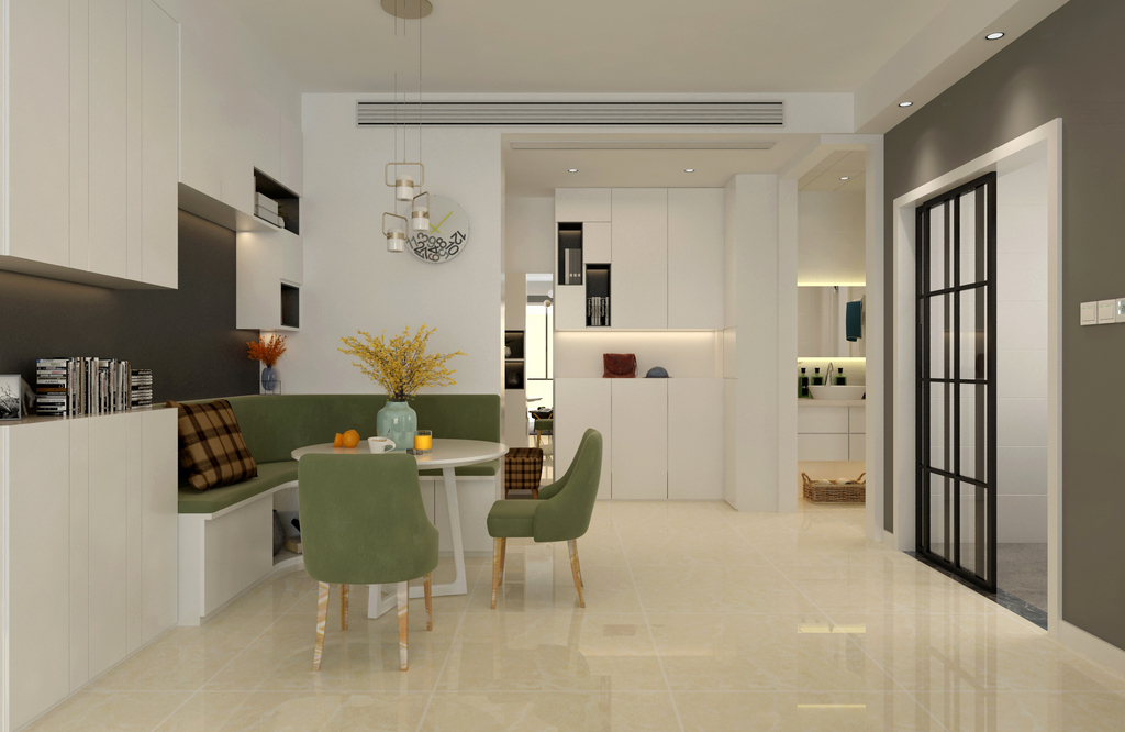 餐廳雖然布置的簡約舒朗,但綠白配的卡座形式,無疑不是給空間增添了休閑氣質,加上墻面上白色置物架的大片襯托,餐廳顯得實用且閑逸舒適。
