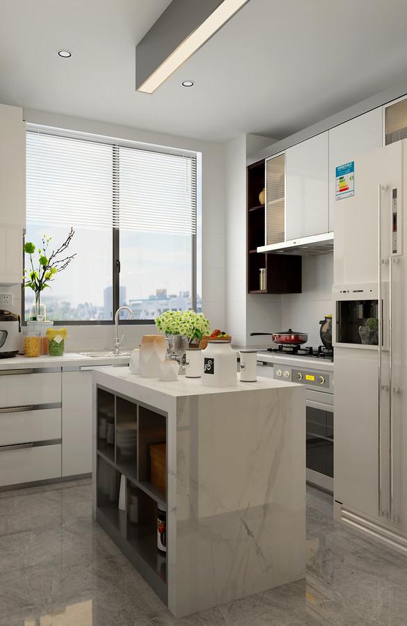 厨房选择清新的白色,呈现出干净整洁感;设计师在中央布置了岛台,便于日常烹饪时的便捷使用,同时也加大了空间的收纳功能。