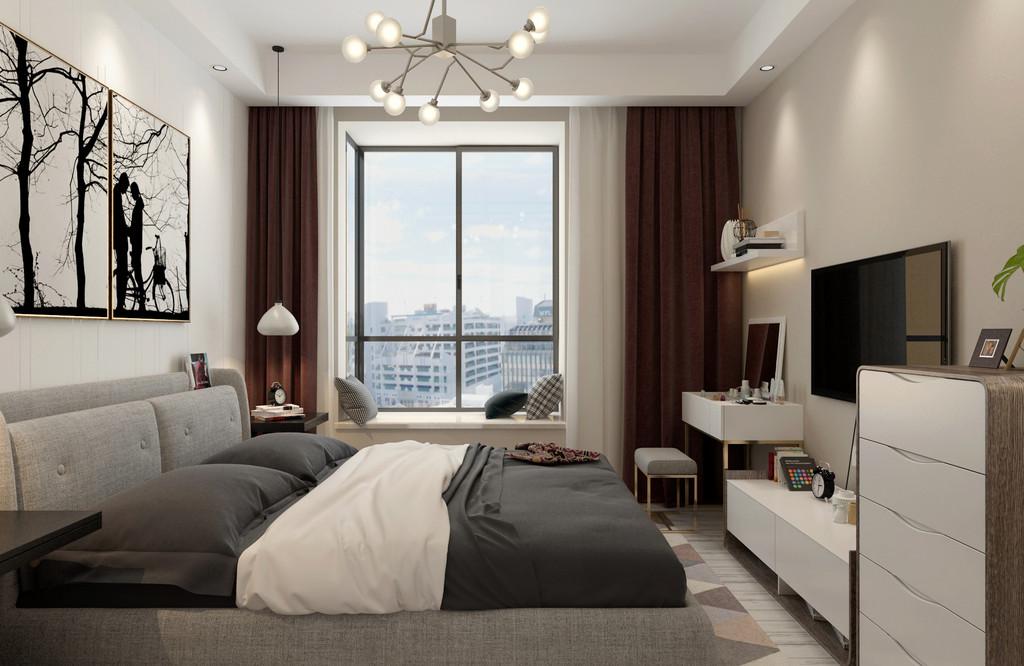 卧室空间不大,但是空间功能井然有序;不同饱和度灰应用的双人床与米色的墙面搭配出文艺气,而配搭的棕红色的窗帘则制造出视觉层次,空间情调满满。