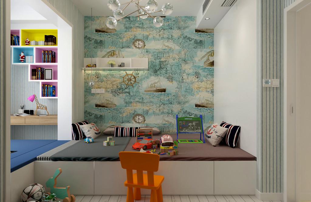 儿童房整个空间全面利用收纳型的榻榻米,打造出既能娱乐休闲又能休憩的实用空间;航海地图壁纸与条纹壁纸对比,加上各种玩物的点缀,空间活力四溢且充满活泼童趣。