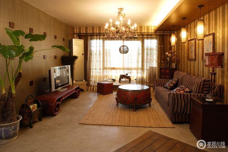 东南亚风格家饰特有的棕色、咖啡色以及实木