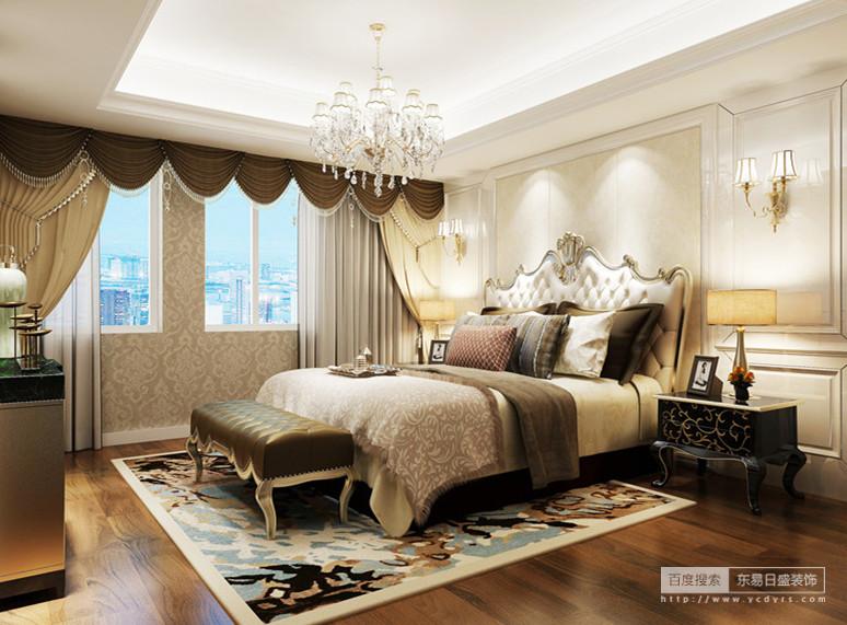 卧室以白色的护墙板装饰在床头,清亮的壁灯与天花板上的灯带,提亮了空间的明度,愈发显得深色布艺和家具上花纹的精致和繁复,细腻的渲染空间,氲起层层的浪漫,令空间有着端庄高雅的情调。