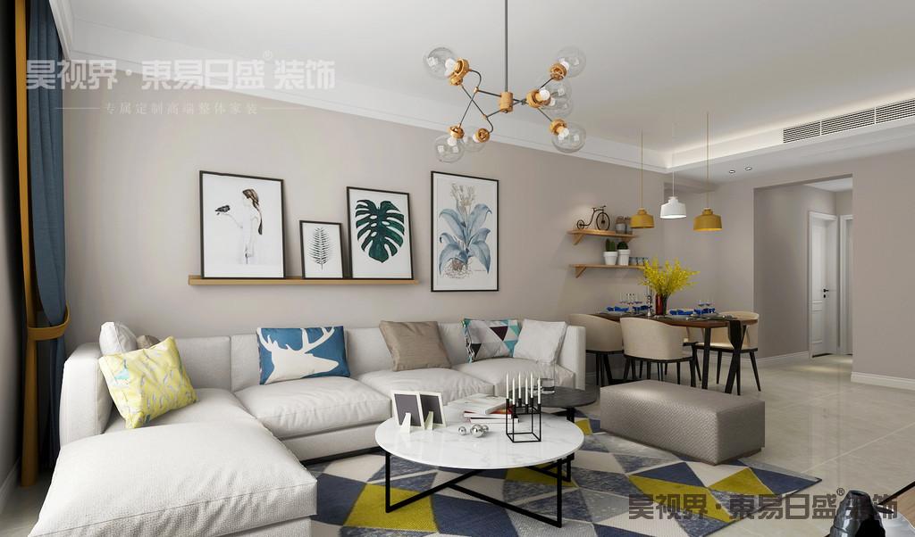 再从自然提取色彩,将户外的景色引入室内,室内室外浑然一体,相得益彰。