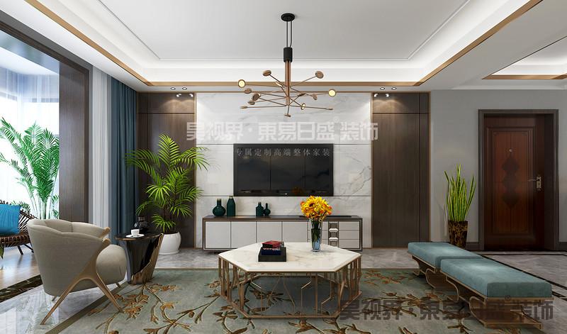 新中式建筑风格讲究对称之美,外加以屏风,窗棂或者博古架,来划分空间层次,造型古朴而典雅,色彩清新而优美,呈现一种古韵犹存的空间氛围。
