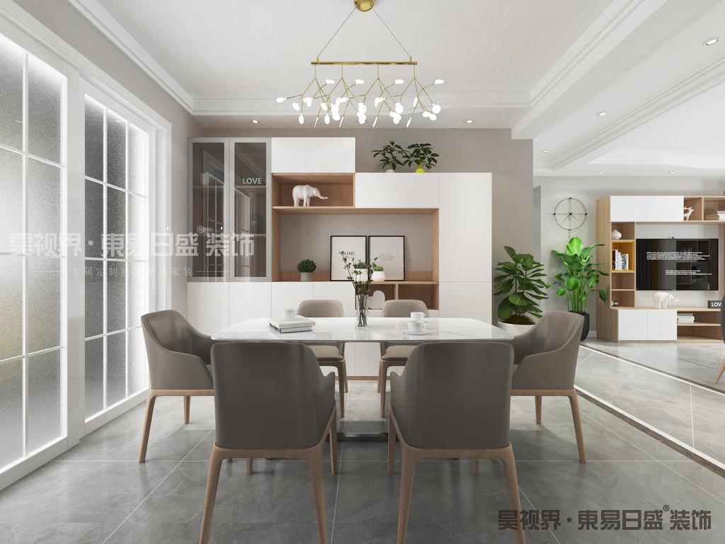 餐厅更多的运用白橡木色为主的板式家具体现一个简单明快的主题。