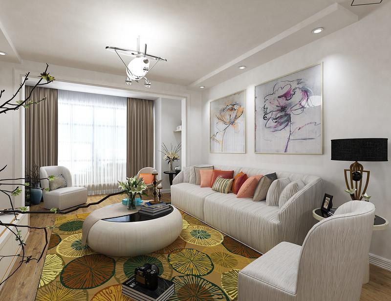 客厅色调以白色为主,简洁舒适。沙发背景墙放置了两幅挂画,简单大方。