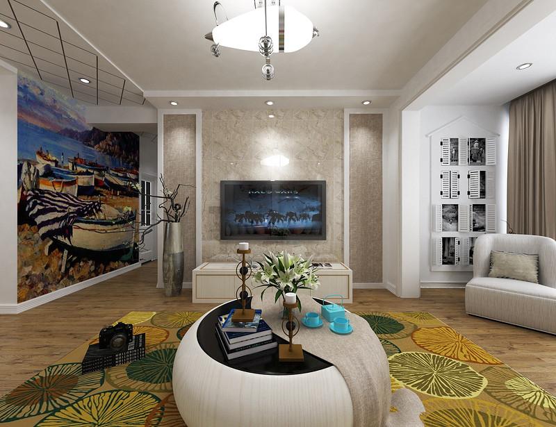 电视背景墙既大气又节省空间,简单精致。