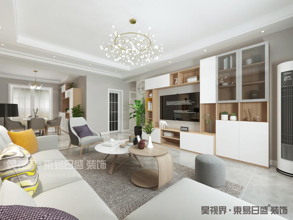 加入超现实主义的无框画,个性抱枕以及玻璃杯等简单的元素,就构成一个舒适简单的客厅空间。