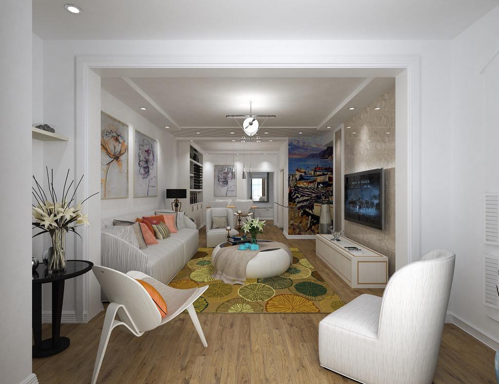 金色的地毯和米白色的沙发想映衬,橘红色的抱枕为客厅增添了几抹亮点,让白色系也不会闲的冰冷。