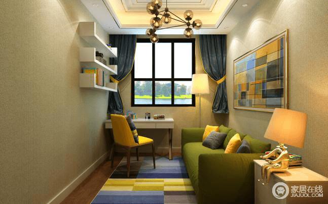 书房的区域做得比较随意,豆绿色的布艺沙发、多彩拼接挂画与墙面素净的壁布构成动静与色彩上的对比,加上个性十足得蜘蛛灯,让学习娱乐的地方舒适度比较高,色彩跳跃,个性十足,就是年轻人所追求的精彩生活。