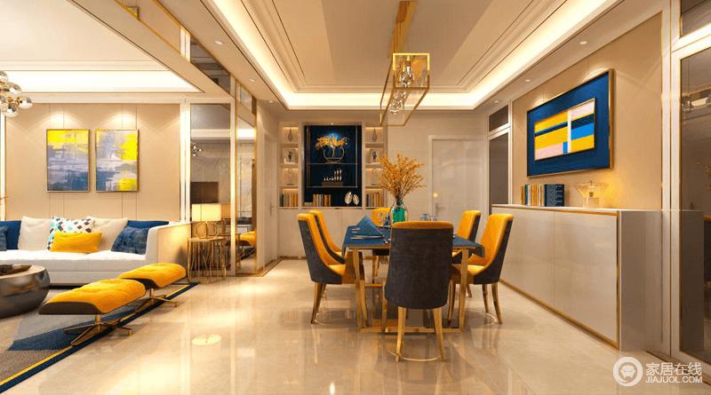 餐厅运用了淡雅的色彩、柔和的光线、蓝色的桌布、华贵的线脚、精致的餐具营造现代古典的高雅,并借定制得书柜来收纳,黄铜吊灯和蓝色调抽象的挂画,给整个空间营造格外摩登,带来一种轻奢。