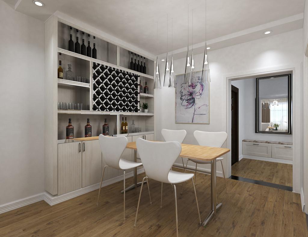 餐厅延续简约风格,原木风的餐桌带来自然的气息,设计独特的小吊灯与餐桌风格一致,营造出独特的用餐气氛。