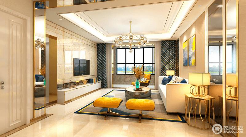 整体硬装色彩还是比较温馨的,布艺沙发组合有着丝绒的质感以及流畅的金属线条,将现代家居的实用性完美地结合。软装的色彩搭配比较跳跃,令整个空间比较活泼,在个性十足胡蜘蛛灯的照射下,使得整个空间更具温馨感。