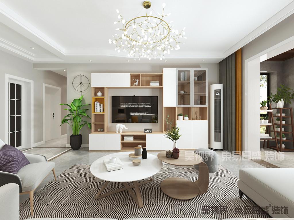 客厅无电视背景墙设计,多用实用的收纳为主。