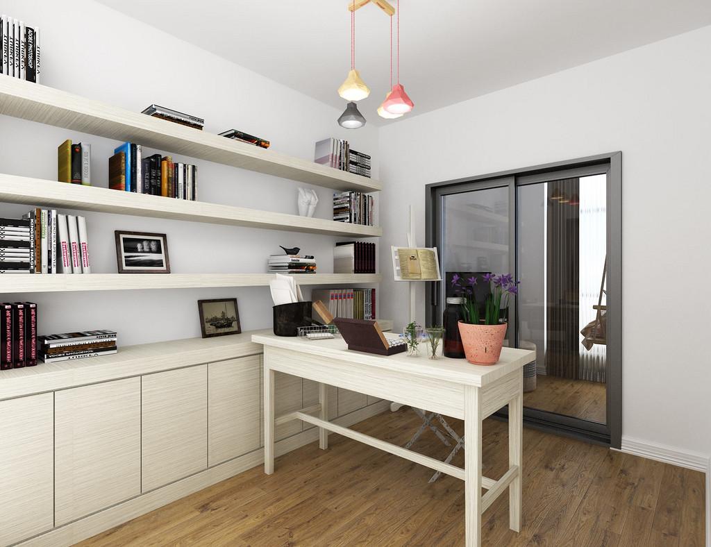 书房整体搭配简单,置物架收纳功能强大,合理利用空间。