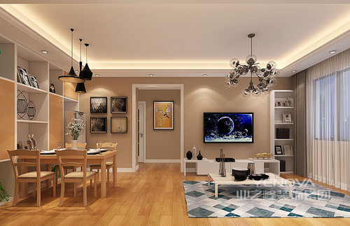 造型独特的电视柜和书架组合,形成电视墙的装饰;吸睛的几何地毯与餐厅酒柜上的色块活泼呼应,木质餐桌朴质温和;两厅在整体上,既有清晰划分,又有相映合之初,整体视觉上有着和谐的文艺气息。