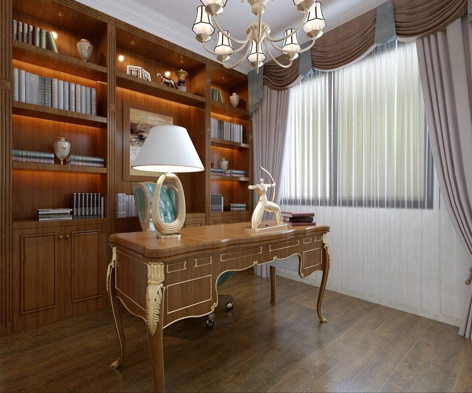 桂林彰泰•睿城四居室140㎡简约欧式风格:书房装修设计效果图