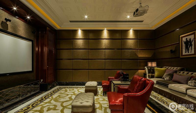 影音室以明暗交汇的色调让整个暗沉的空间具有了光影效果;几何墙面的立体与花卉地毯的欧式格调,让红色沙发的明艳更为突出,灰色沙发更带你体验舒适的观影时光。