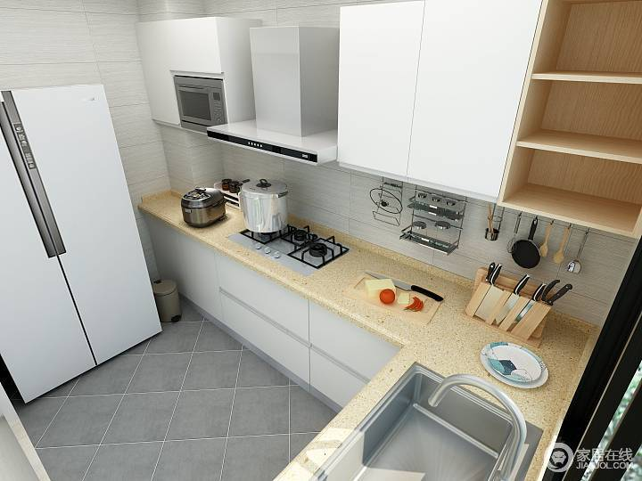 好的实木橱柜和台面纹路清晰自然,色彩干净,漆层也不会过于厚重,让女主人从此爱上厨房。