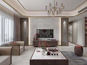 现代花园小区 新中式四居设计149平米四居室