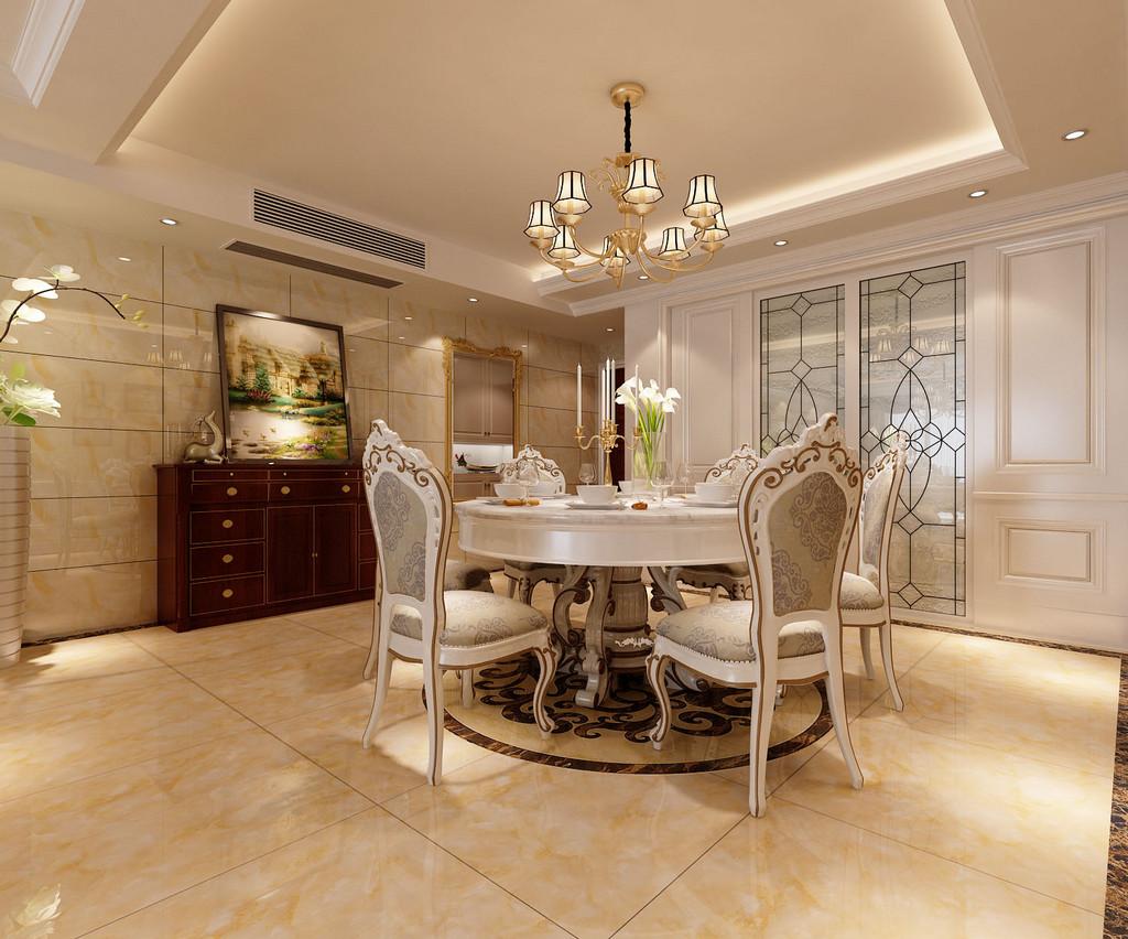 桂林彰泰•睿城四居室140㎡简约欧式风格:餐厅装修设计效果图
