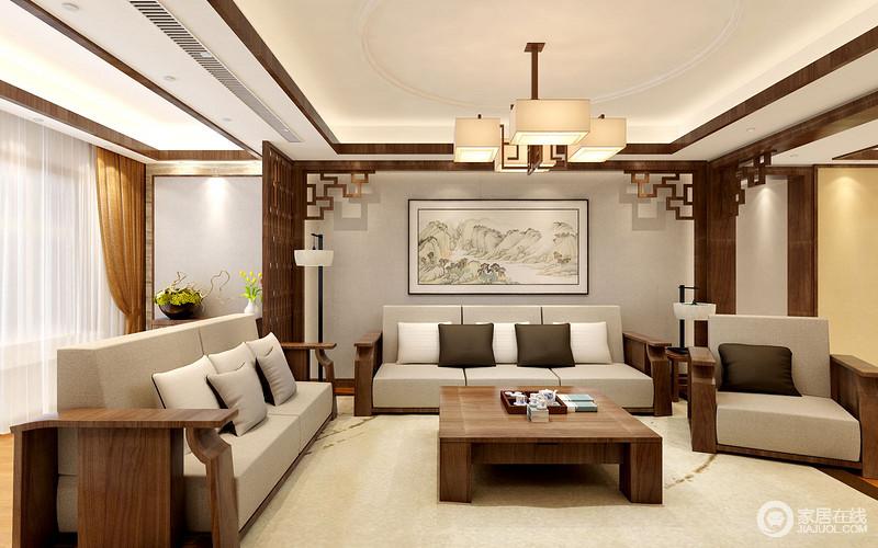 客厅在原有结构的基础上,将中式门窗元素引入空间,并与镂空屏风组成沉重和优雅;灰色背景墙的挂画带着清色之调,提升了实木灰色沙发,简素中更富质感;新中式矩形吊灯和实木茶几以不同质感打造新中式幽静格调,让心情舒畅。