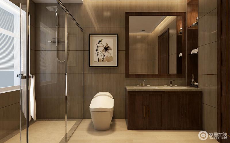 卫生间规整的格局感,让你感受到浓浓的现代沉稳和凝练大气,墙面砖铺贴出线条效果,更显精细,而浅色地砖与之对比,强调层次美学;玻璃门将干湿分区,而实木盥洗柜简洁利落,与内置收纳柜多了实用性,让整个卫生间质感上乘,干净舒适。