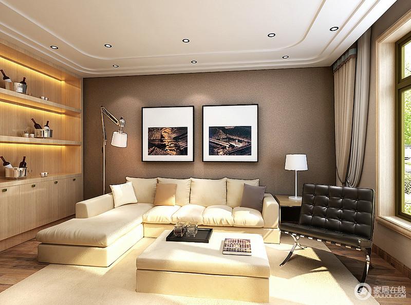 休闲室中以咖色背景墙和黑白调的摄影作品来表达当代都市生活的纷繁,实木柜的简洁以功能性为主,白色沙发与黑色单椅以经典的配色构成现代经典,洁净的用色塑造着惬意。