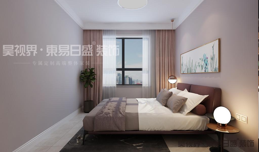 """卧室的功能从未有太多的变化,它一直是睡眠、休息、存放衣物的主要场所,是居室中最个人化的空间。在这里同样采用""""少即是多""""来表现的这个卧室的主要功能性。"""