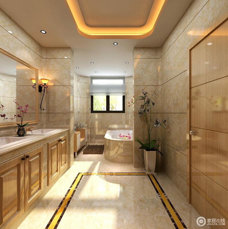 卫浴间利用淡黄色大理石来营造富丽辉煌的宫廷效果,墙面上的线条隐约带着几何之美,更显复古;规整的盥洗台和浴缸区满足不同的使用需求,充分体现了空间的艺术性之外的人性化关怀。