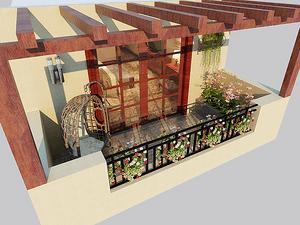 美式风格阳台装修效果图