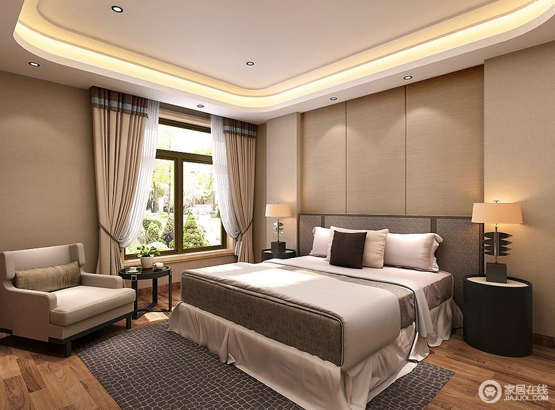 驼色调的卧室十分温馨清逸,简洁的设计与得体的陈列带着现代设计的艺术感,表达着中性调的内敛和典雅;藏蓝色地毯和黑色圆几、个性的台灯以讲究的陈设,带着现代摩登,令卧室舒适而温怡。