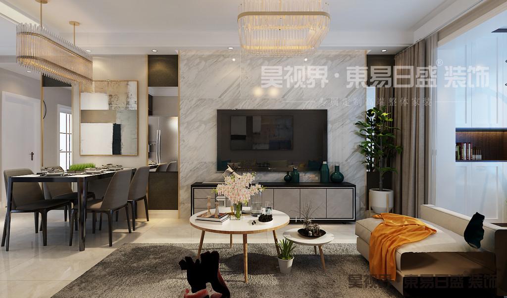 客厅开放式空间拥有开阔的视觉,让光线和空气相互流通蔓延。