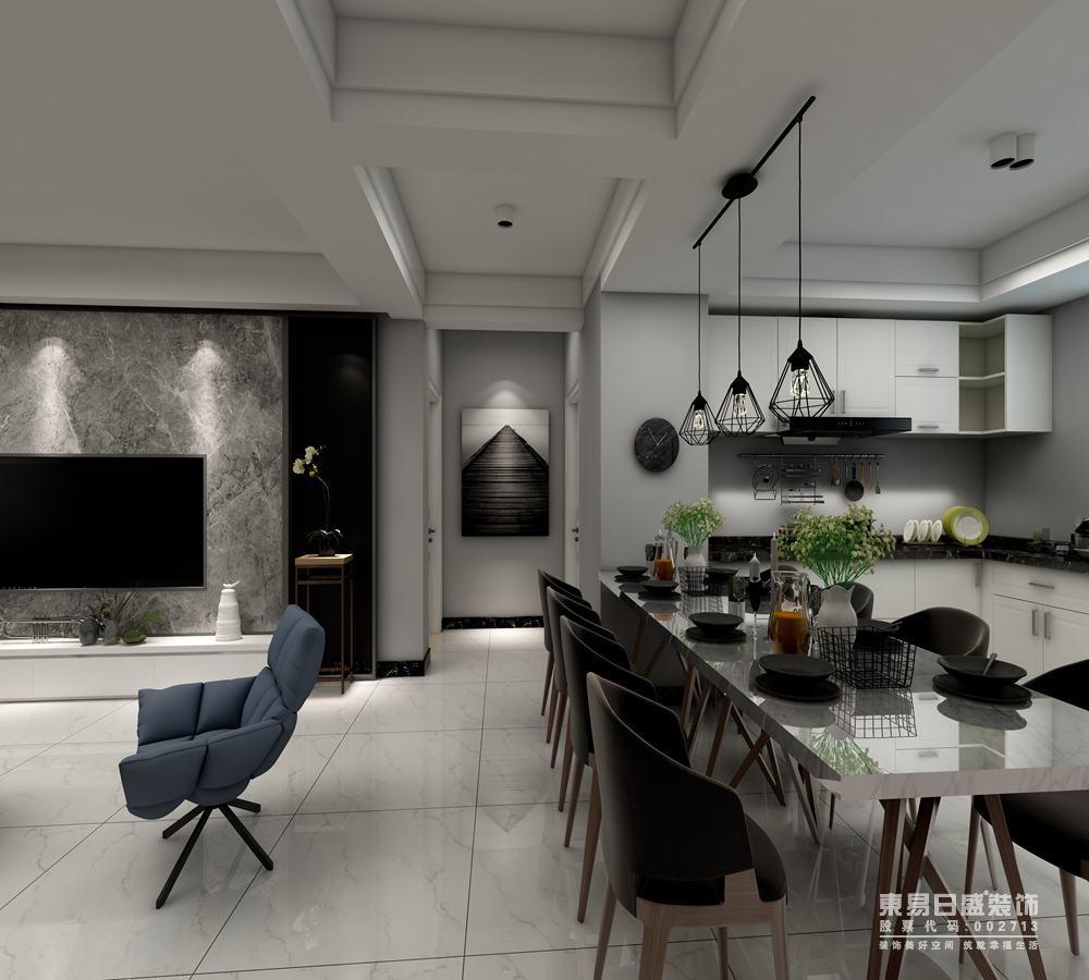 开放式设计让整体的硬朗空间显得宽敞开阔,餐厅与客厅通过天花板无形划分区域;餐厅则与厨房一体式设计,空间上布置的紧凑有序;棕色的实木餐椅与灰白大理石餐桌配搭,在铁艺吊灯的点缀下,有着艺术的时髦感。