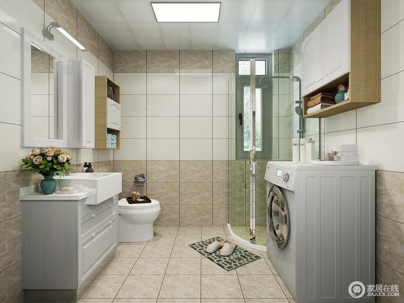 卫生间通过白色和驼色的磨砂砖石来铺贴墙面,形成一种设计上的动律,减除了单调,同时与驼色砖石呼应出朴质;盥洗柜和吊顶让卫生间的收纳也更利落,放大了墙面收纳的意义。
