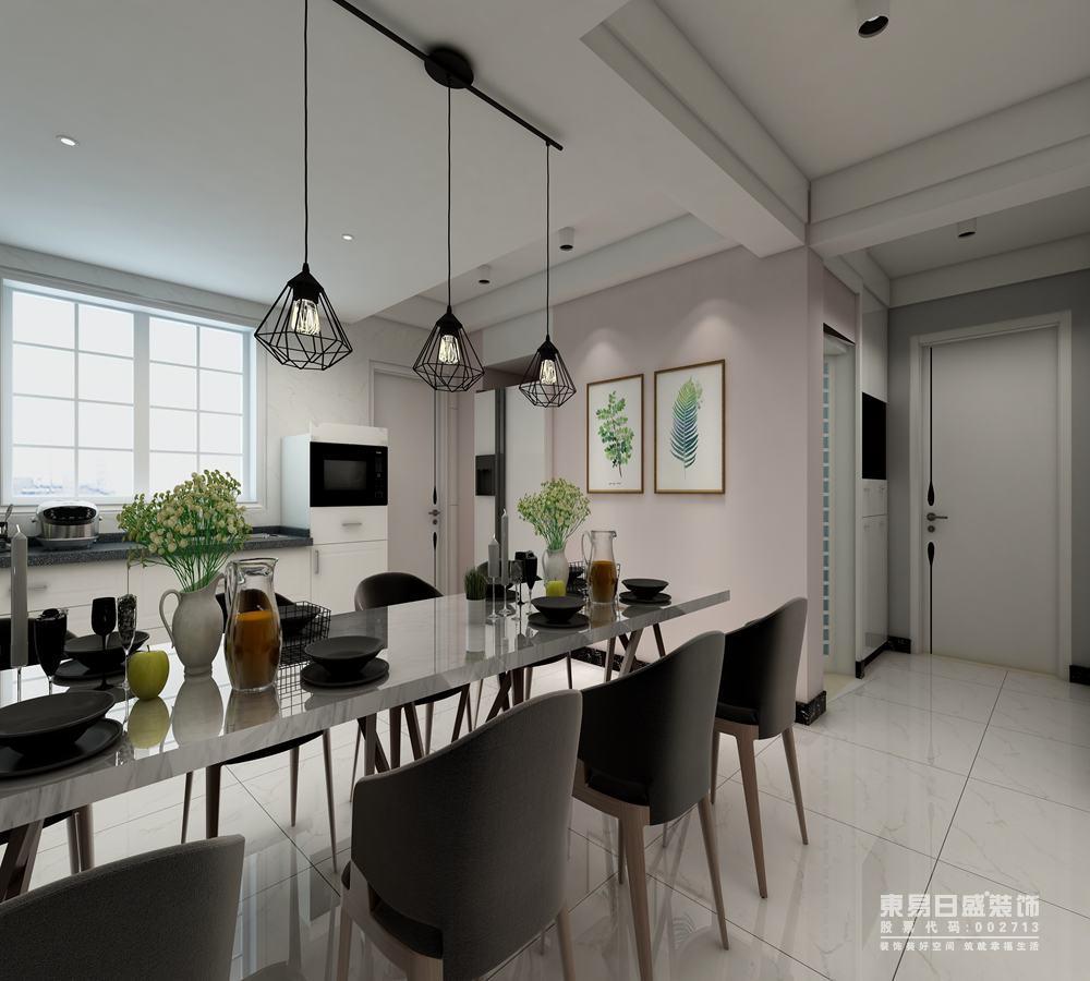 餐厅靠近玄关的墙面,则被设计师漆刷成浅淡色,一下子为空间注入了轻柔甜美的气息,打破了空间的沉稳气质,从而多了感性的温柔情调。