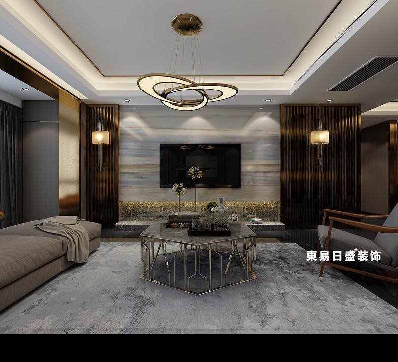 桂林彰泰•春天四居室160㎡现代风格:客厅电视墙装修设计效果图